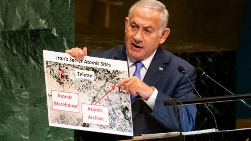 Israeli PM Benjamin Netanyahu tells the UN General Assembly about what he described as Iran's 'secret atomic warehouse'.