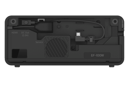 The rear of the projector can hide an Amzon Fire Stick, it's also where you would plug any external devices.