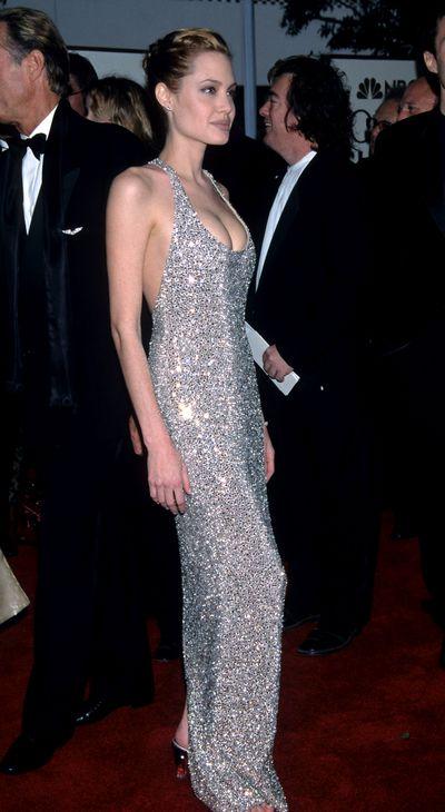 Angelina Jolie on the Golden Globe Awards red carpet in 1999.