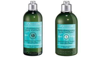 "A deep clean:<br /><p><a href=""http://au.loccitane.com/"" target=""_blank"">Aromachologie Revitalizing Fresh Shampoo and Conditioner, $28, L'OCCITANE.</a></p>"