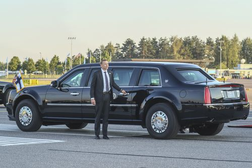 The president's heavily armoured car has followed him on every stop of the trip. Picture: AAP