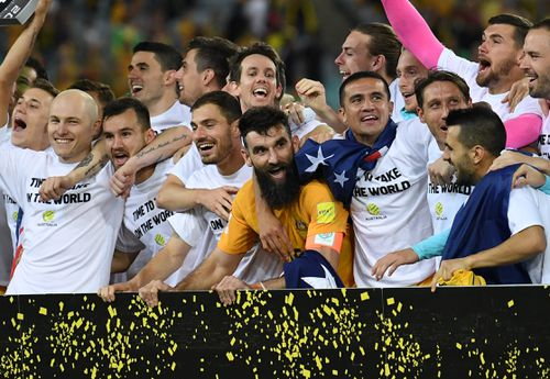 Australia team captain Mile Jedinak gestures to the crowd after winning. (AAP)