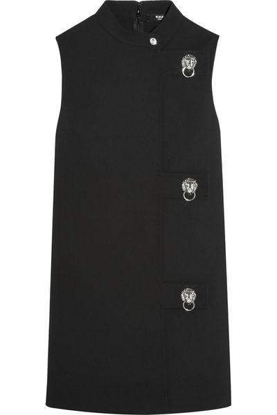 """<a href=""""http://www.net-a-porter.com/au/en/product/659535/Versus/embellished-crepe-mini-dress"""" target=""""_blank"""">Dress, $769, Versus at net-a-porter.com</a>"""