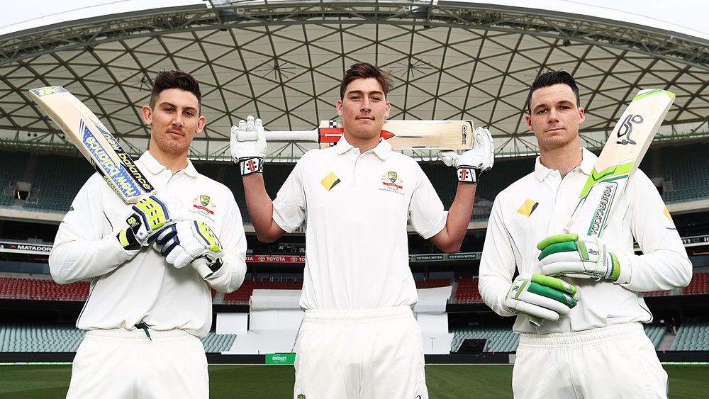 Test debutants Nick Maddinson, Matt Renshaw and Peter Handscombe.(Getty)