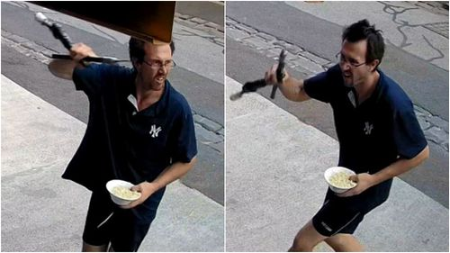 The thief refused to let his noodle snack go to waste during the bike thief. (Victoria Police)