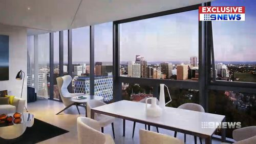 The residential tower will feature 374 apartments over 28 storeys. Picture: 9NEWS