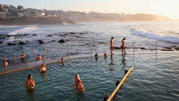 People swim in the sea pool at Bronte Beach in Sydney.