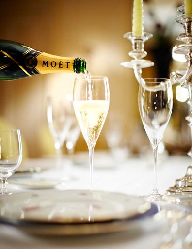 Moet and Chandon Imperial poured into a Champagne flute
