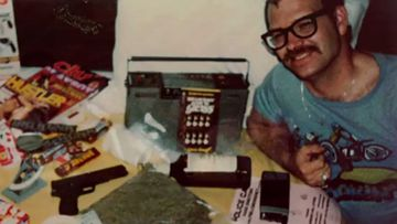Roy Lewis Norris, seen shortly before his arrest, with a handgun, a bag of marijuana, chloroform and pornography.