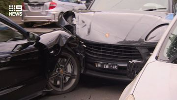 Two luxury cars collided in the inner west of Sydney this morning.