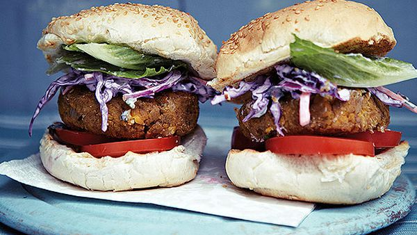 Anjum Anand's chickpea burgers with Indian purple coleslaw