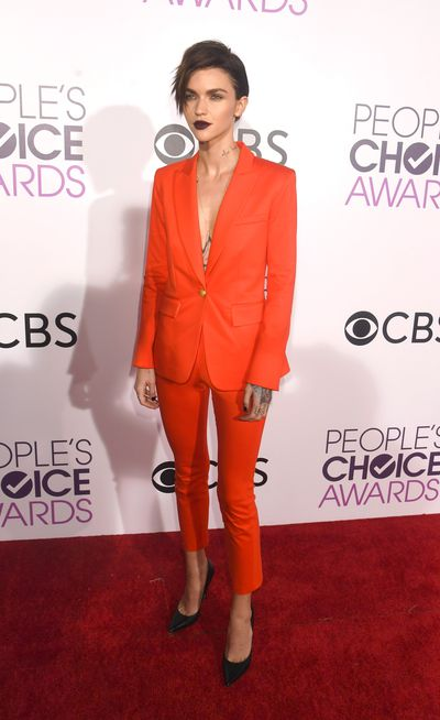 <p>Ruby Rose wore a bright orange Veronica Beard suit. She teamed it with Jimmy Choo heels and looked gorgeous, if a little fierce.</p> <p>Image: Getty.</p>