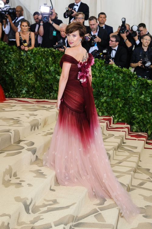 Scarlett Johansson wore Marchesa, to the Met Ball this week. (AAP)