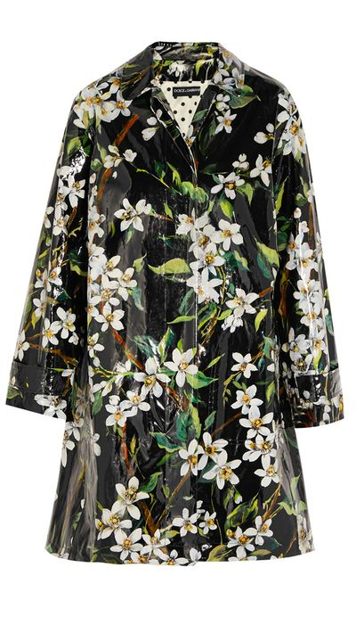 """<p><a href=""""http://www.net-a-porter.com/product/509233"""" target=""""_blank"""">Floral-Print Coated Cotton Raincoat, $1,267, Dolce & Gabbana at net-a-porter.com</a></p>"""