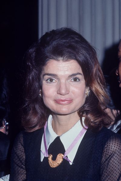 Jacqueline Kennedy Onassis at a Robert Kennedy tribute, 1970