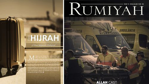 Issue 13 of Rumiyah features the story of an Australian woman who journeys into Syria with her children. (Supplied)