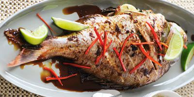 Roasted baby snapper with yellow bean sauce