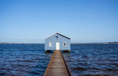 Perth's iconic Blue Boathouse, also known as the Crawley Edge Boat Shed