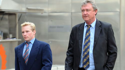 The family of 19-year-old Dean Hofstee, father Peter Hotfteel (right) and brother Quinton Hotfteel outside court in Melbourne, Thursday, Aug. 20, 2009, after Puneet Puneet, 19, was issued with an arrest warrant for killing Dean Hofstee