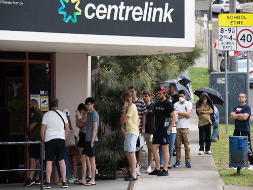 Line at Centrelink in Rockdale in Sydney
