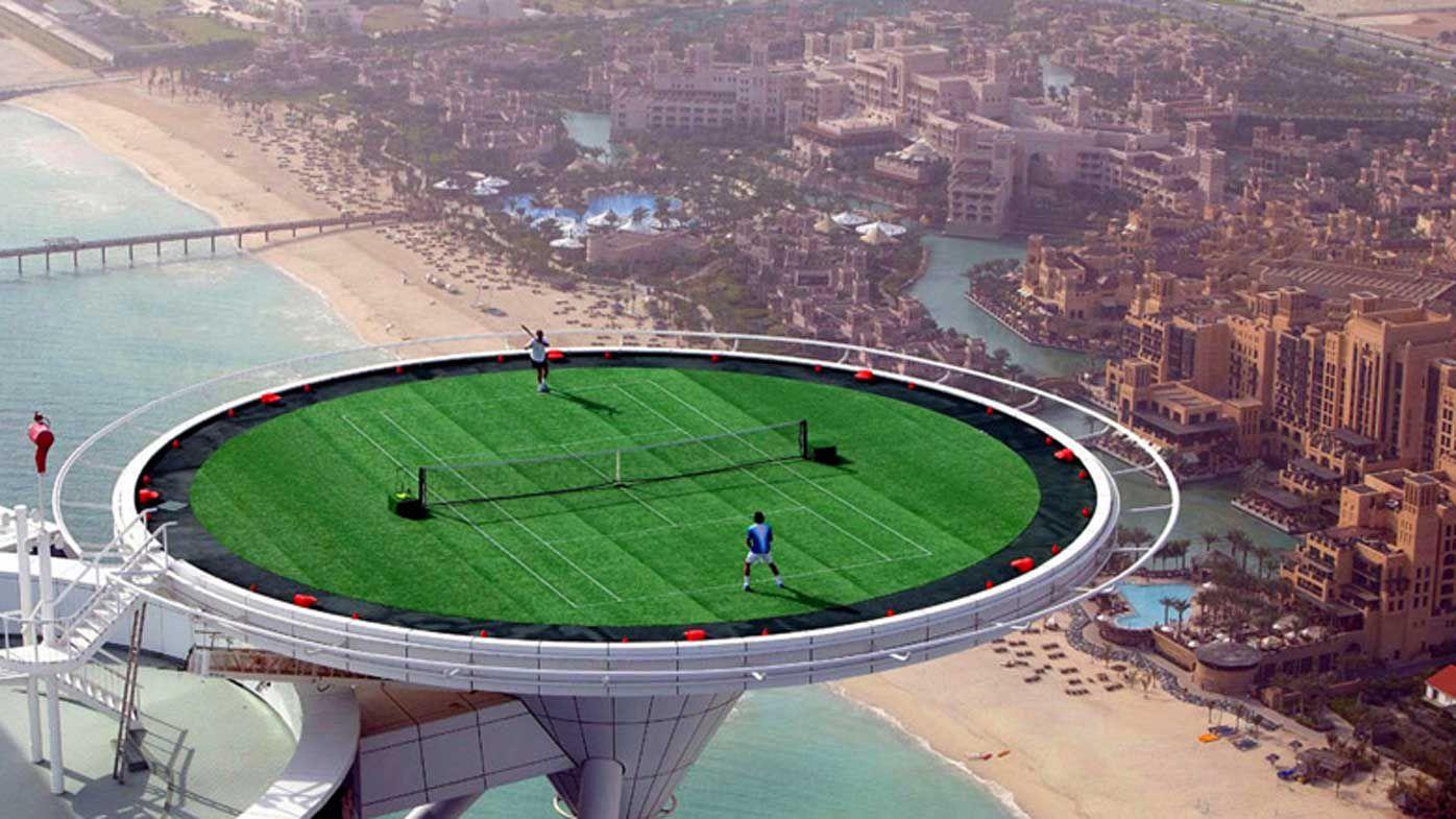 World's highest tennis court on the Burj Al Arab helipad, Dubai