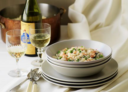 Risotto with peas and prawns