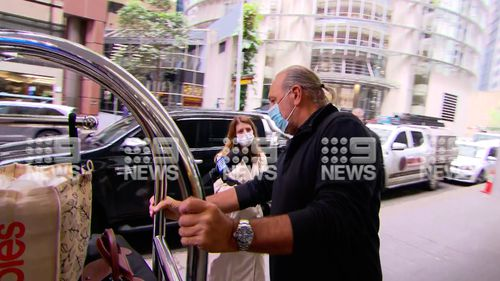 Brian Houston and his wife Bobbie emerged from a Sydney hotel this morning after two weeks in quarantine. Hillsong
