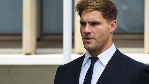 Jack de Belin leaves Wollongong court today.