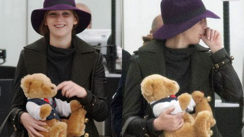 Weird: Jennifer Lawrence sucks her thumb while holding a teddy bear at airport