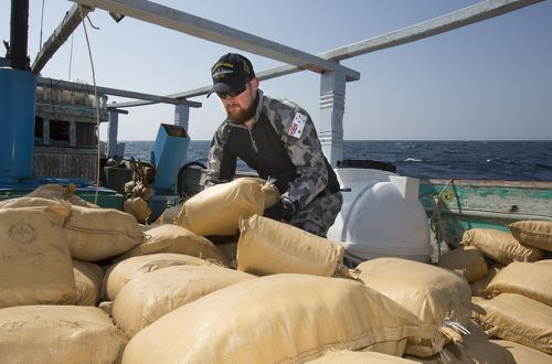 The drugs will now be disposed of at sea. (Australian Government Department of Defence)