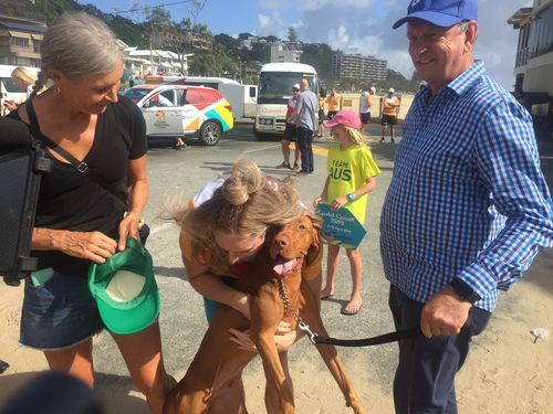 Parents Karen and John took the beloved pooch along to see their daughter. Picture: Christine Ahern