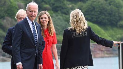 Joe and Jill Biden with British PM Boris Johnson and wife Carrie Johnson.