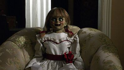 The creepy Annabelle doll from the third film in the series, Annabelle Comes Home.