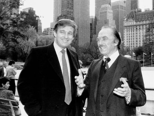 Donald Trump, left, and his father Fred Trump in New York during the 1980s.