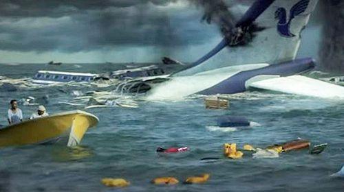 The 'aftermath' of Iran Air Flight 655 as portrayed in the propaganda film. (YouTube screenshot)