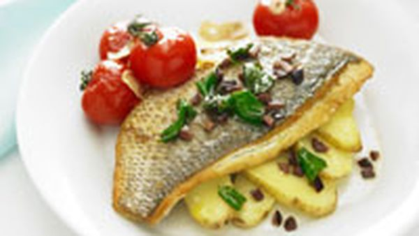 Pan-fried snapper with tomato, olives and basil