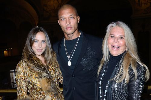 Jeremy Meeks with Chloe Green and prospective mother-in-law Tina Green at Ralph and Russo fashion show in Paris in January. Picture: PA