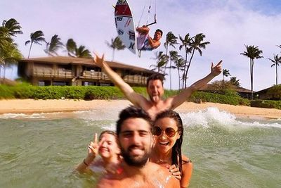 @shaym: This may be the best photo bomb ever. @kai_lenny surf flying over us...unreal. @gopro
