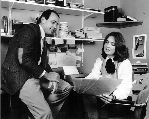 Gerald Stone and Jana Wendt after her signing to 60 Minutes in 1981.