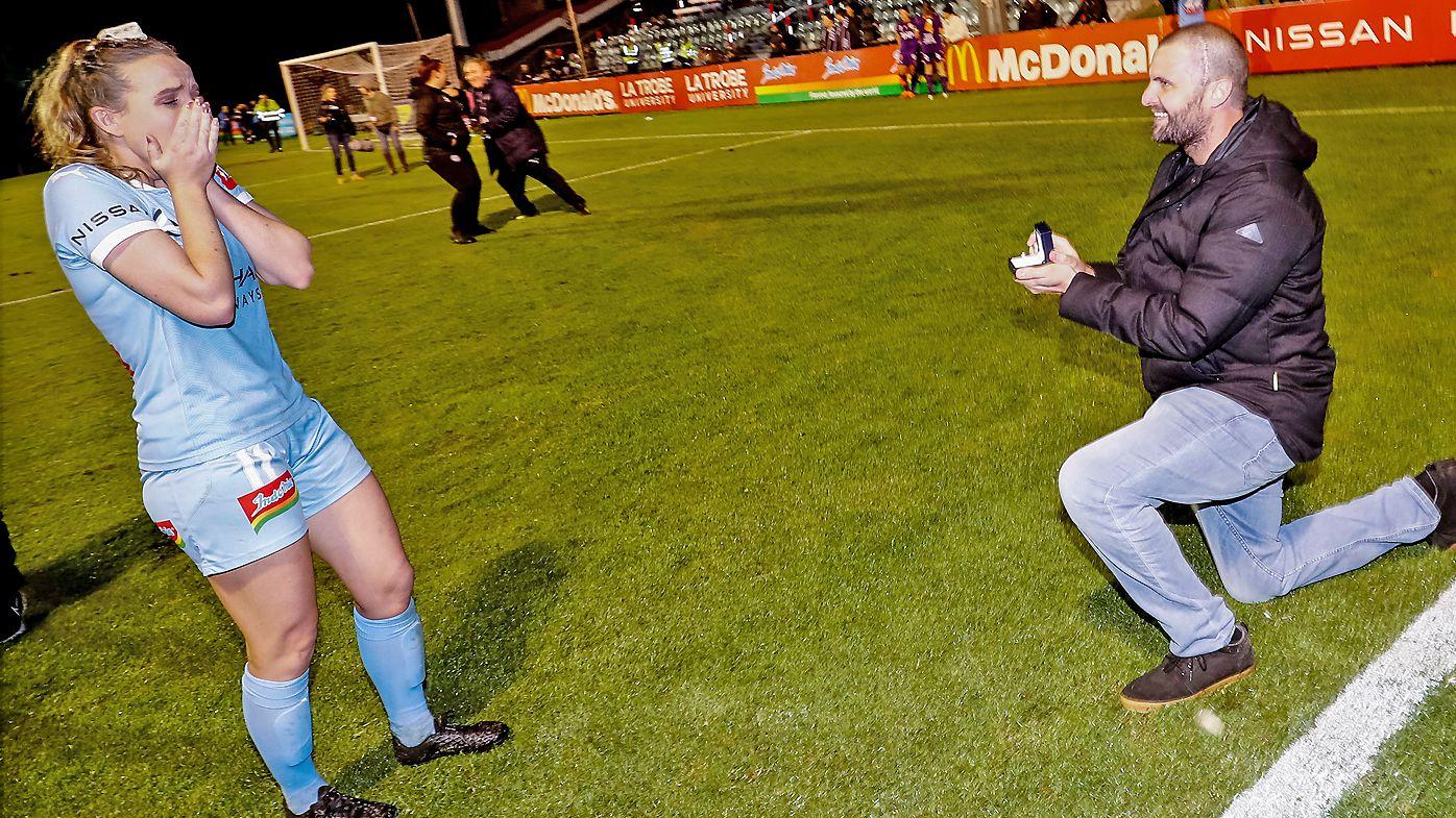 Rhali Dobson's partner Matt proposes after her final W-League game