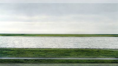 'Rhein II' (1999) by Andreas Gursky sold in November 2011 for US$4,338,500 at an auction at Christie's New York, making it the second most expensive photograph ever. (Supplied)