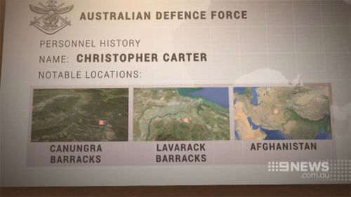 The defence force records of murder accused Christopher Carter. (Supplied)