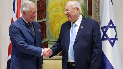Prince Charles, The Prince of Wales meets with Israel's President Reuven Rivlin at his official residence in Jerusalem.