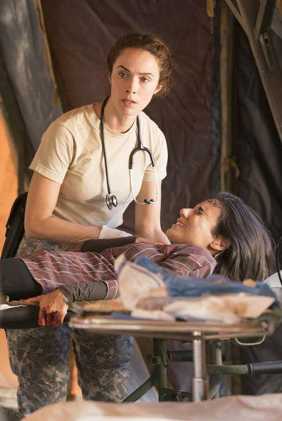Abigail Spencer stars in a flashback scene on Grey's Anatomy in 2017.