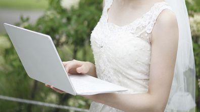 Bride on computer