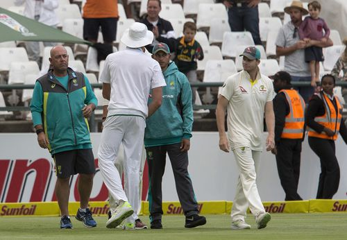 Steve Smith and the team refuse to answer questions as they return to their hotel. Picture: 9NEWS