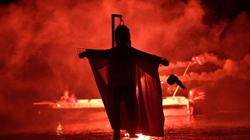"""The effigy of Judas is burnt during the revival of the old Easter tradition of the """"burning of the Judas"""", in the port town of Ermioni, in the Peloponnese peninsula, southwest of Athens. (AP)."""