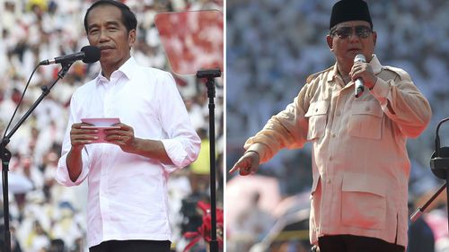 Indonesian President Joko Widodo, left, and his challenger in the upcoming election Prabowo Subianto during their campaign rallies in Jakarta.