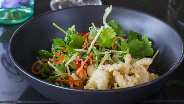 Salt and pepper Balmain bugs with coriander, macadamia and ginger salad