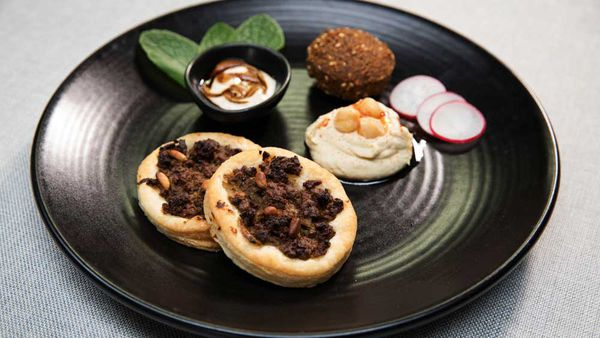 The Shahrouk's lahma bi agin, falafel, hummus bi tahini